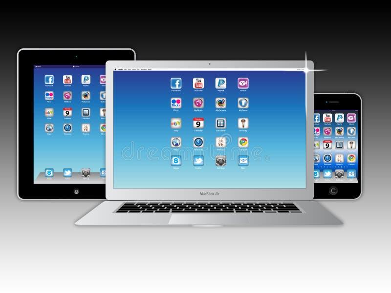 komputer apple dane icloud mac organisation ilustracji