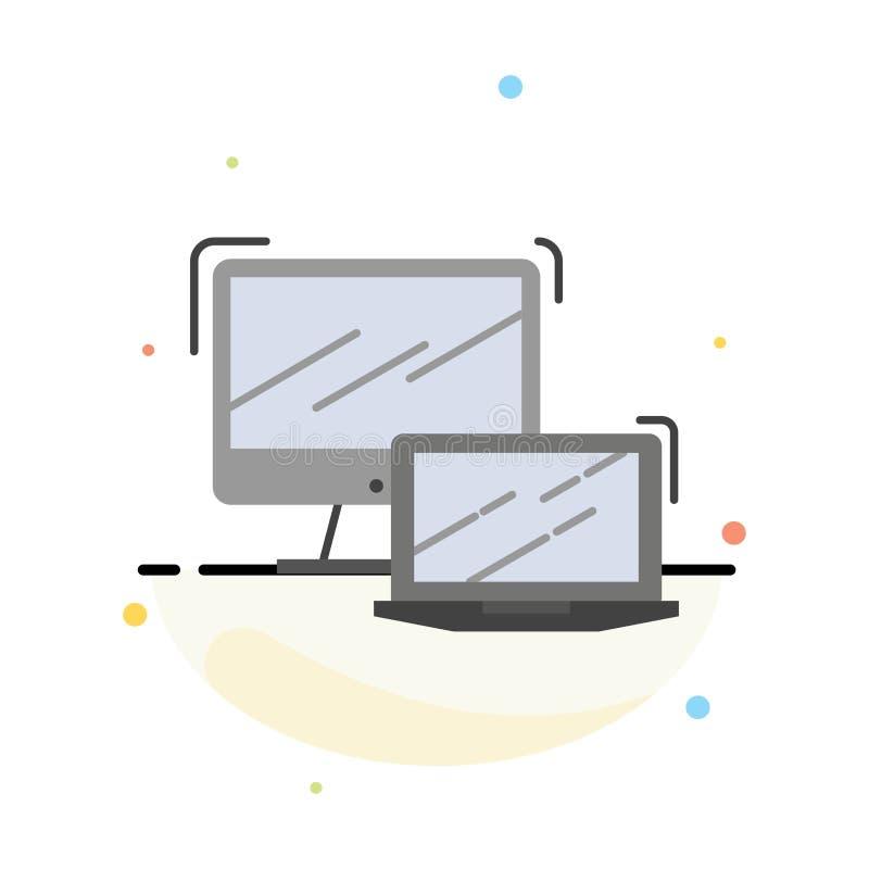 Komputer, biznes, laptop, MacBook, technologia koloru ikony Abstrakcjonistyczny Płaski szablon ilustracja wektor