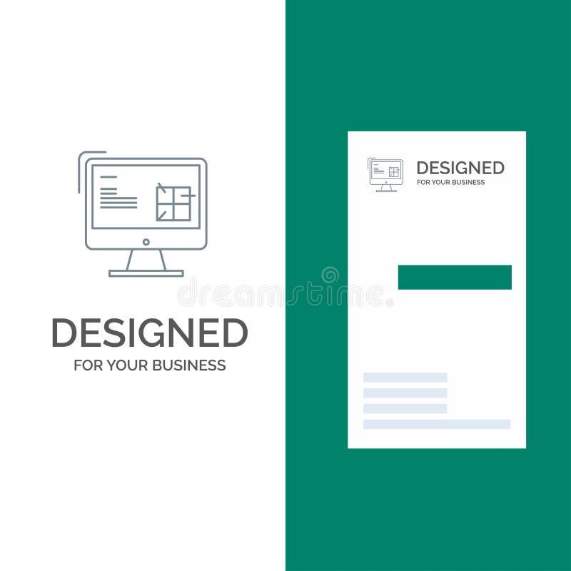 Komputer, budowa, naprawa, Lcd, projekta logo Popielaty projekt i wizytówka szablon, royalty ilustracja