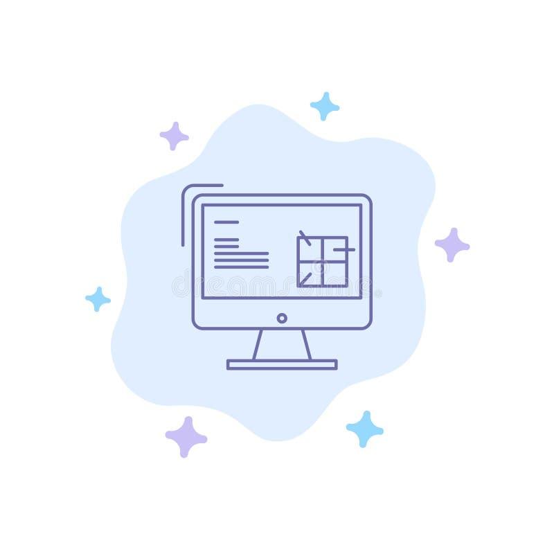 Komputer, budowa, naprawa, Lcd, Projektuje Błękitną ikonę na abstrakt chmury tle ilustracja wektor