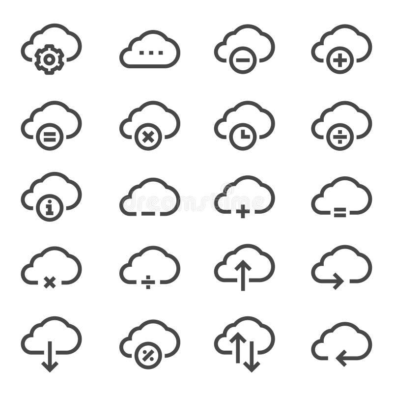 Komputer chmury odnosić sie kreskowe ikony kartonowe koloru ikony ustawiać oznaczają wektor trzy ilustracji