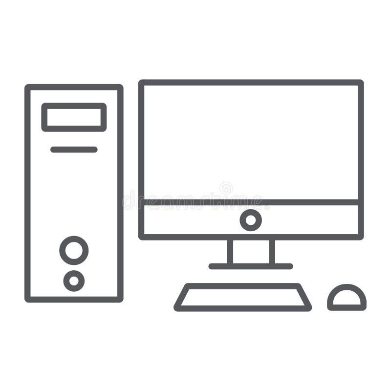 Komputer cienka kreskowa ikona, desktop i monitor, komputer osobisty podpisujemy, wektorowe grafika, liniowy wzór na białym tle ilustracji