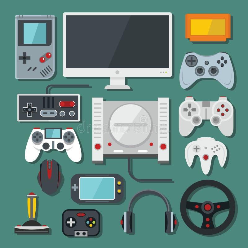 Komputer, cyfrowa wideo gry online konsola, gra wytłacza wzory wektor s royalty ilustracja