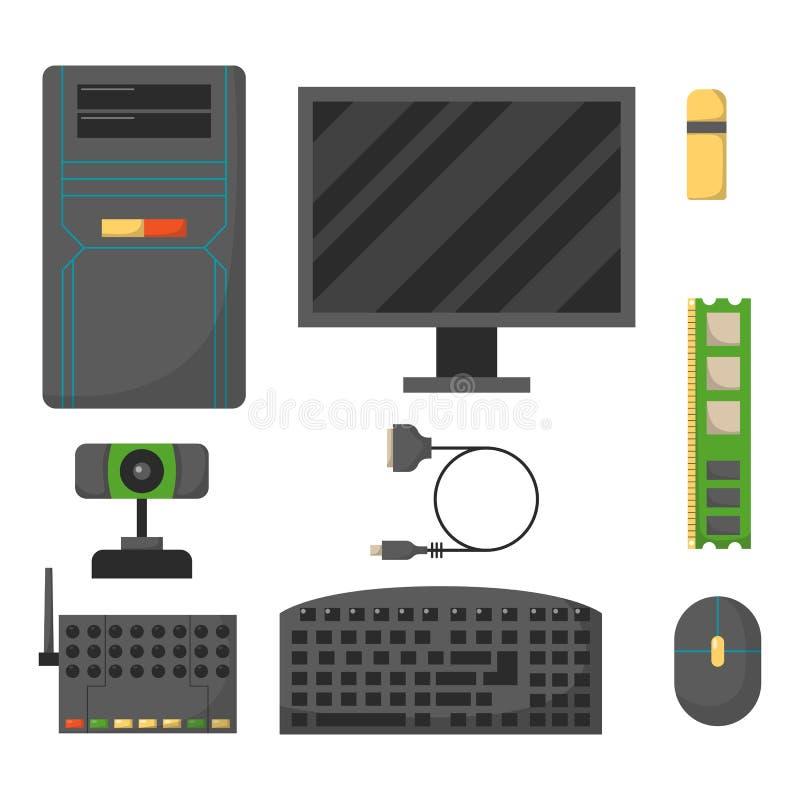 Komputer części sieci składowych akcesoriów elektronika różnorodni przyrząda i komputeru stacjonarnego procesor jadą narzędzia pa ilustracja wektor