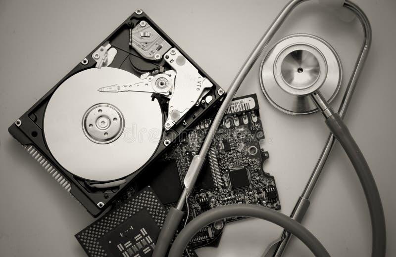 komputer części stetoskop zdjęcia stock
