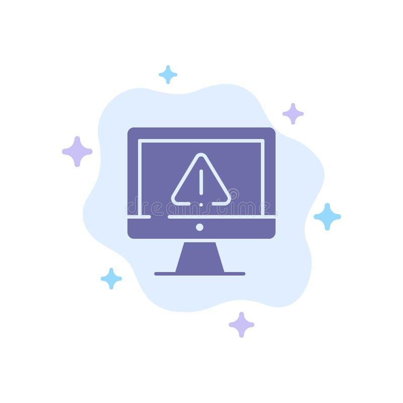 Komputer, dane, informacja, internet, ochrony Błękitna ikona na abstrakt chmury tle ilustracja wektor