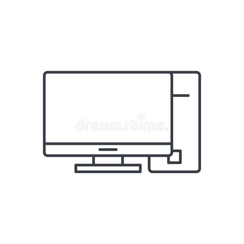 Komputer, desktop cienka kreskowa ikona Liniowy wektorowy symbol ilustracja wektor