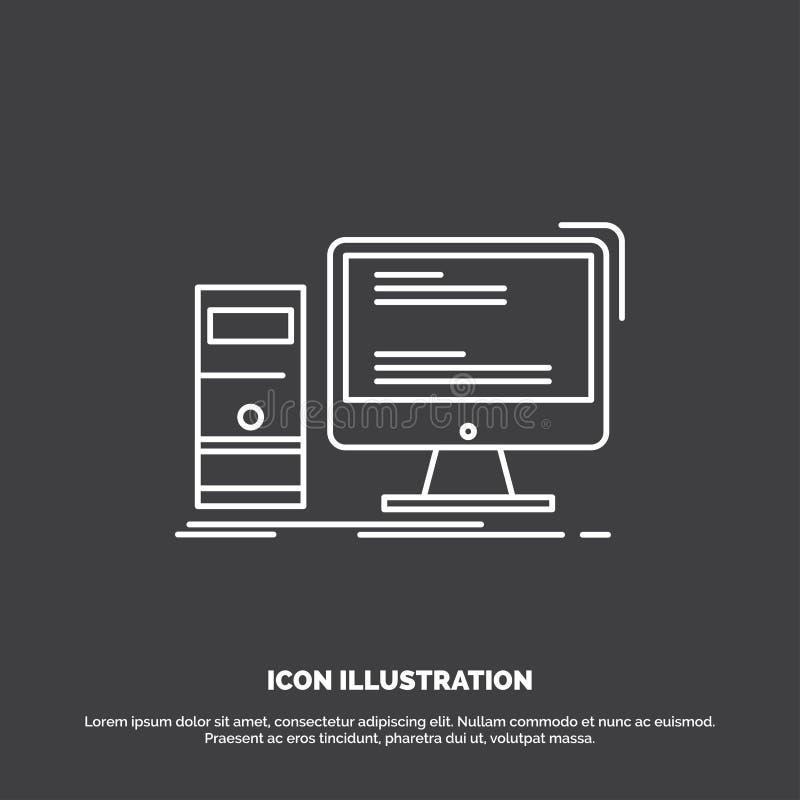 Komputer, desktop, hazard, komputer osobisty, osobista ikona Kreskowy wektorowy symbol dla UI, UX, strona internetowa i wisz?cej  royalty ilustracja