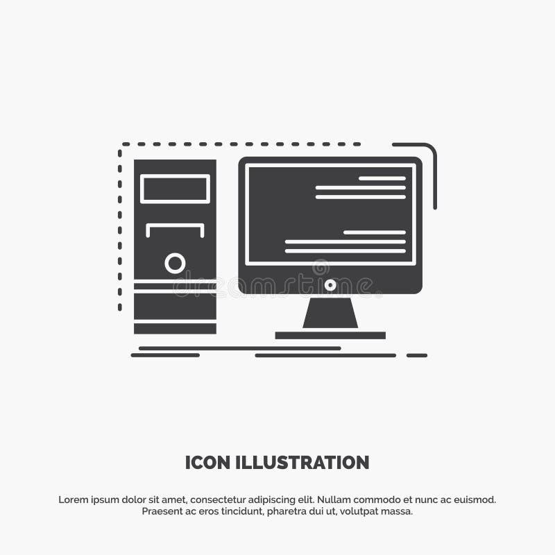 Komputer, desktop, narzędzia, stacja robocza, system ikona glifu wektorowy szary symbol dla UI, UX, strona internetowa i wisz?cej royalty ilustracja