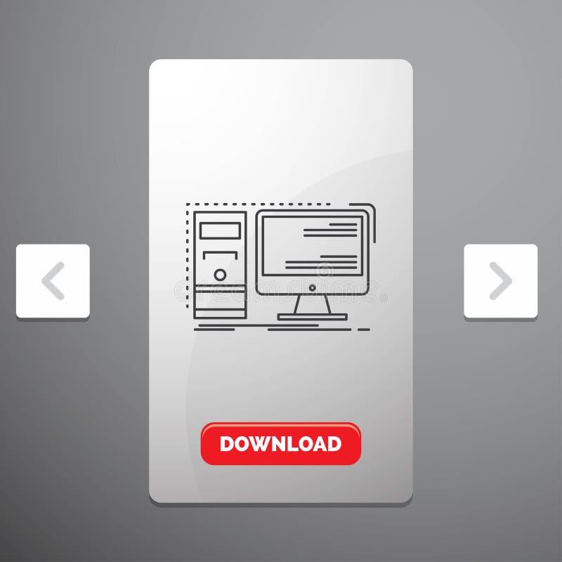 Komputer, desktop, narzędzia, stacja robocza, system Kreskowa ikona w biby paginacji suwaka projekcie & Czerwony ściąganie guzik, royalty ilustracja