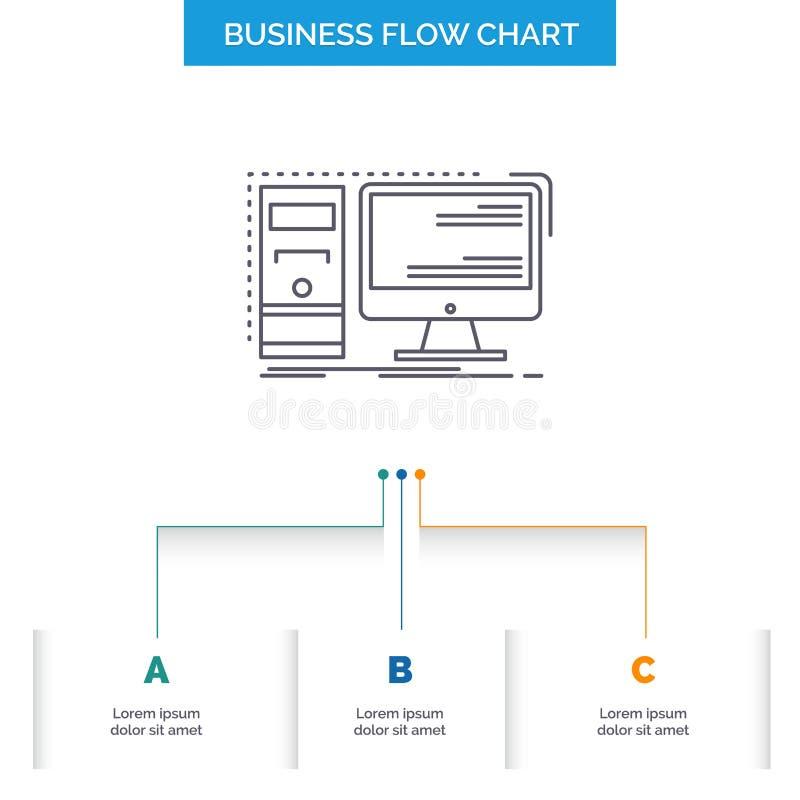 Komputer, desktop, narzędzia, stacja robocza, system Spływowej mapy Biznesowy projekt z 3 krokami Kreskowa ikona Dla prezentacji  royalty ilustracja