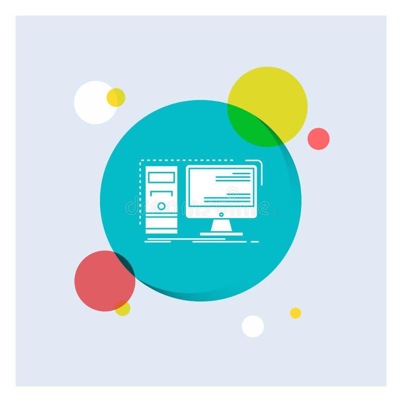 Komputer, desktop, narzędzia, stacja robocza, systemu glifu Białej ikony okręgu kolorowy tło ilustracja wektor