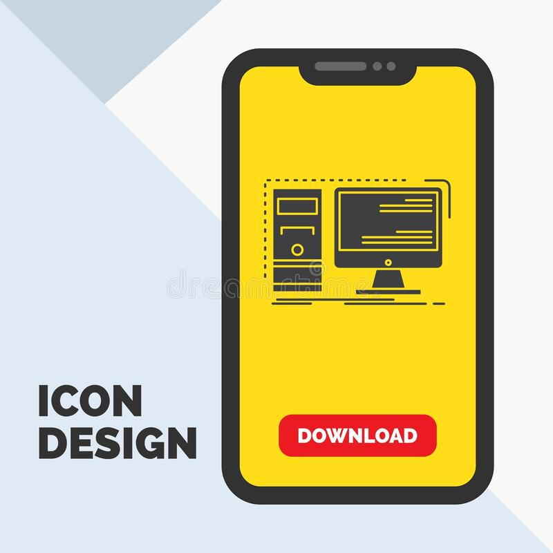 Komputer, desktop, narzędzia, stacja robocza, systemu glifu ikona w wiszącej ozdobie dla ściąganie strony ? ilustracja wektor
