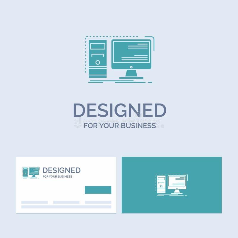 Komputer, desktop, narzędzia, stacja robocza, systemu logo glifu ikony Biznesowy symbol dla twój biznesu Turkusowe wizyt?wki z ilustracja wektor