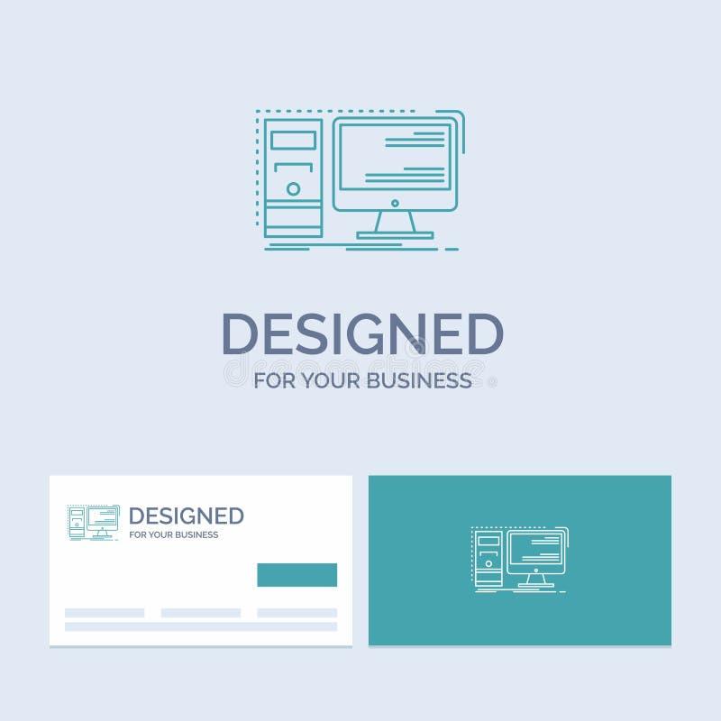 Komputer, desktop, narzędzia, stacja robocza, systemu logo linii ikony Biznesowy symbol dla twój biznesu Turkusowe wizyt?wki z royalty ilustracja