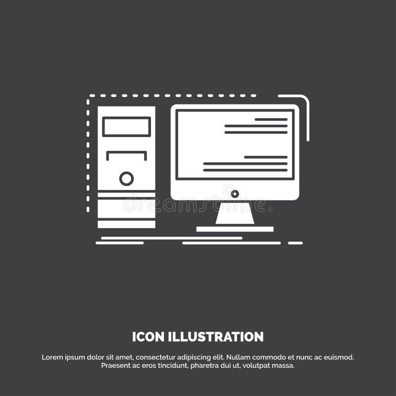 Komputer, desktop, narz?dzia, stacja robocza, system ikona glifu wektorowy symbol dla UI, UX, strona internetowa i wisz?cej ozdob ilustracja wektor
