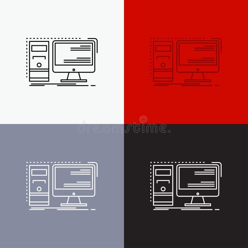 Komputer, desktop, narz?dzia, stacja robocza, system ikona Nad R??norodnym t?em Kreskowego stylu projekt, projektuj?cy dla sieci  ilustracja wektor