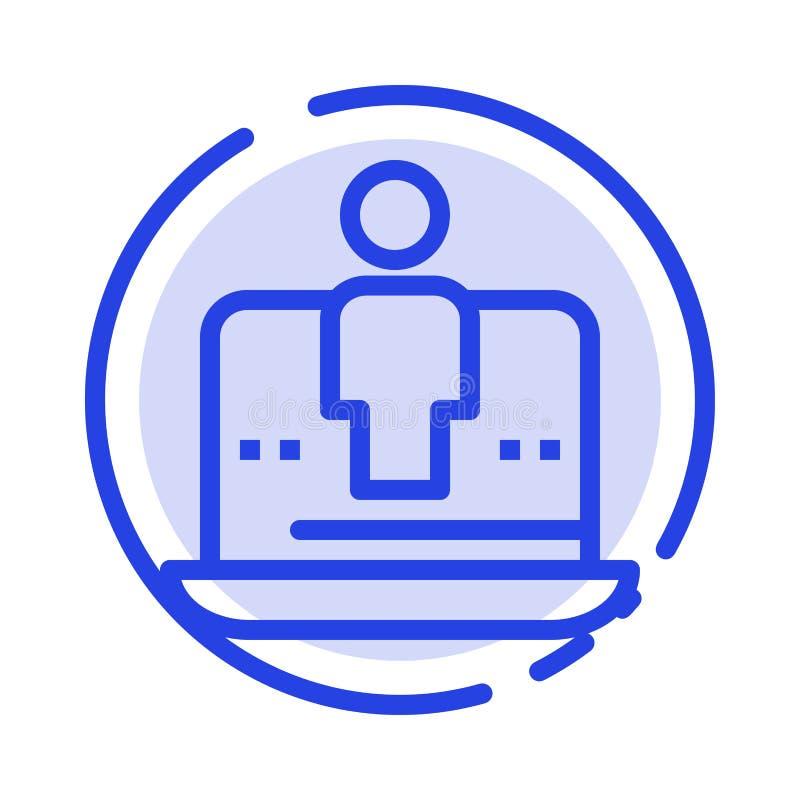 Komputer, Digital, laptop, technologia, Wprowadzać na rynek błękit Kropkującą linii linii ikonę ilustracja wektor