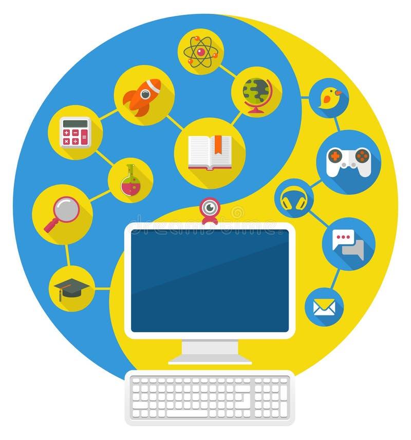 Komputer dla edukaci i wolnego czasu ilustracji