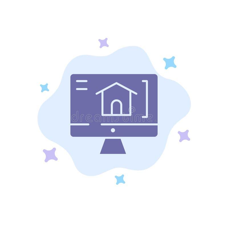 Komputer, dom, Domowa Błękitna ikona na abstrakt chmury tle royalty ilustracja