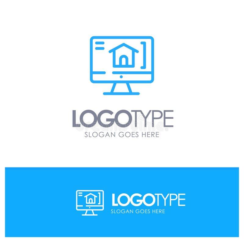 Komputer, dom, Domowy Błękitny konturu logo z miejscem dla tagline ilustracji