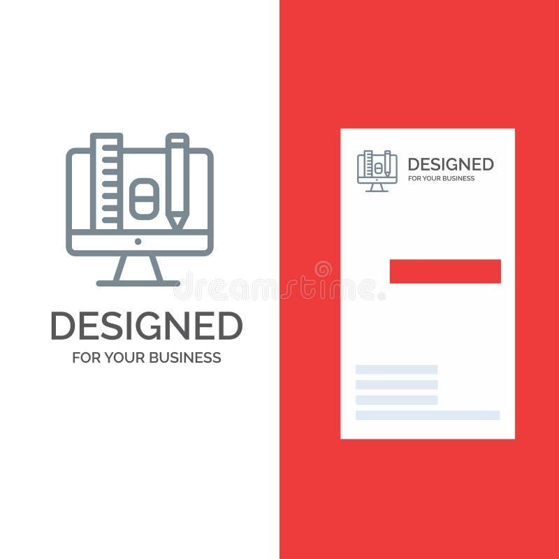 Komputer, edukacja, skala, ołówka logo Popielaty projekt i wizytówka szablon, ilustracji