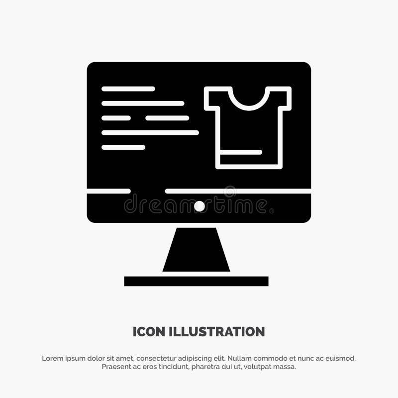Komputer, ekran, monitor, Robi zakupy Stałą Czarną glif ikonę ilustracja wektor