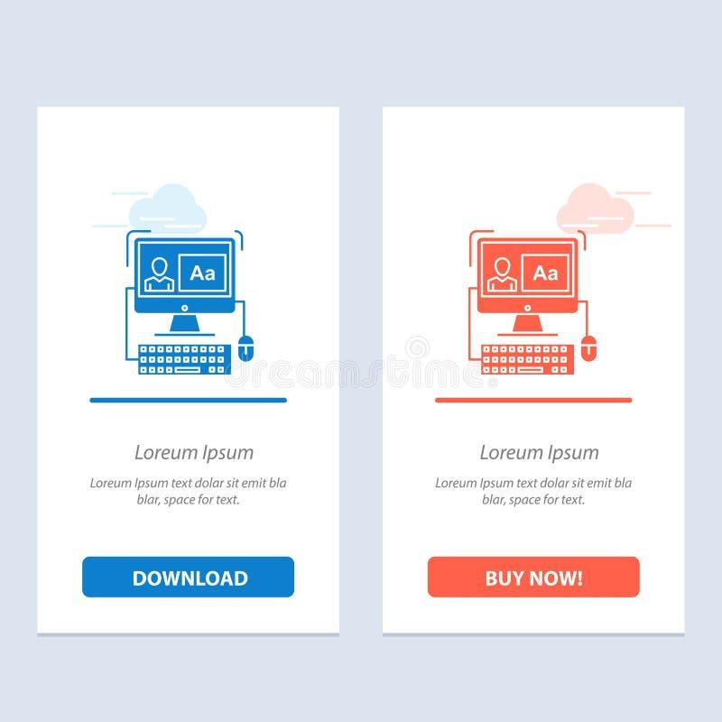 Komputer, ekran, oprogramowanie, Redagujący błękita i Czerwonej sieci Widget karty szablon Teraz ściągania i zakupu ilustracja wektor