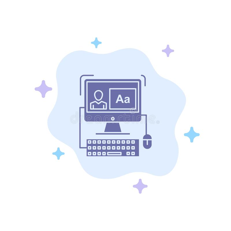 Komputer, ekran, oprogramowanie, Redaguje Błękitną ikonę na abstrakt chmury tle royalty ilustracja