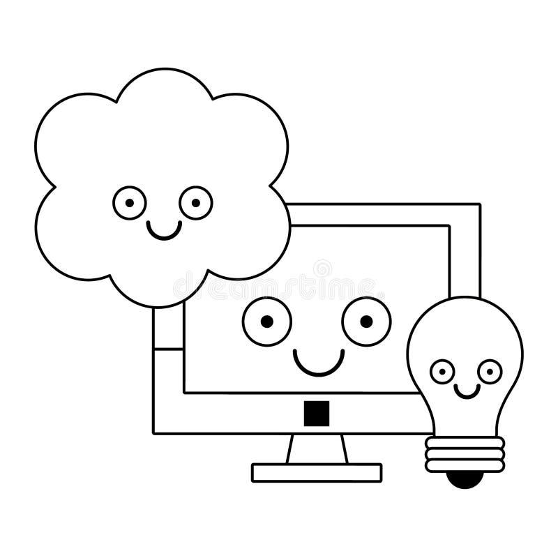 Komputer i ?ar?wka z chmur? oblicza w czarny i bia?y ilustracji