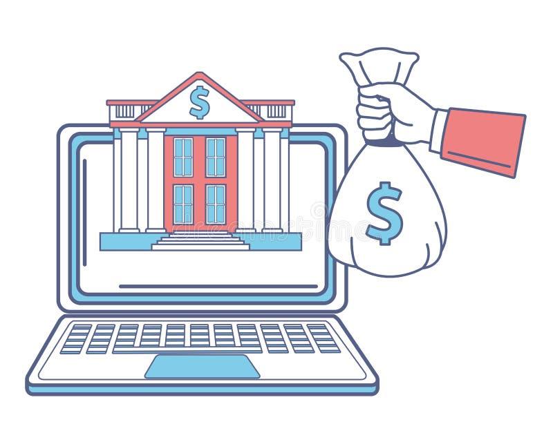 Komputer i bank royalty ilustracja