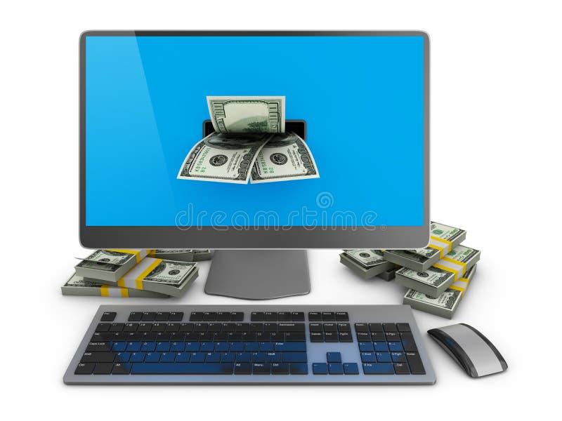 Komputer i dolary ilustracja wektor