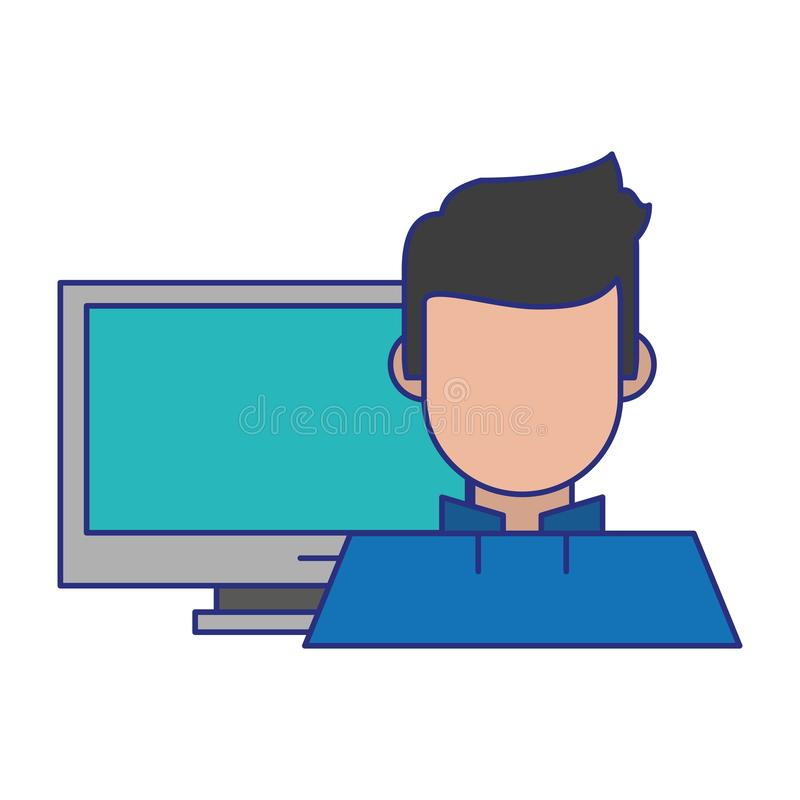 Komputer i m??czyzna ilustracji