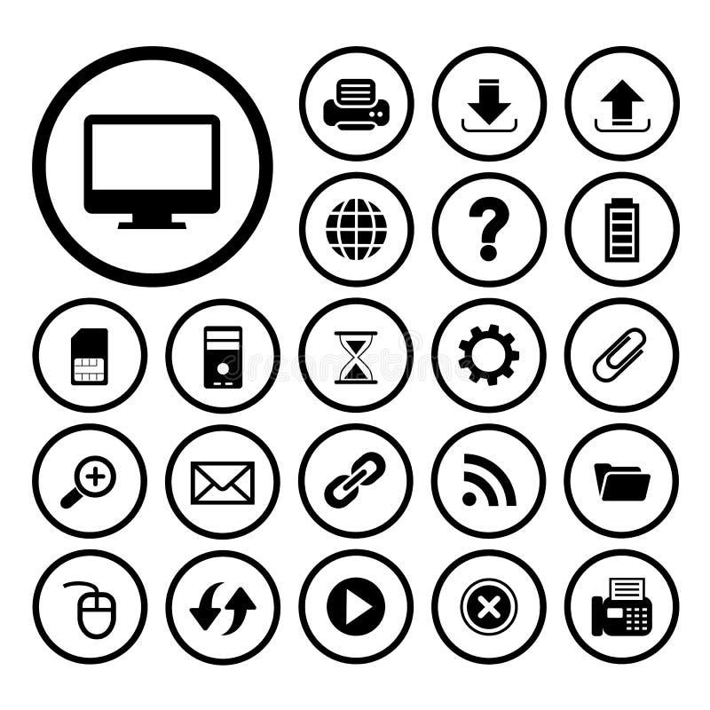 Komputer i technologii ikony set ilustracja wektor