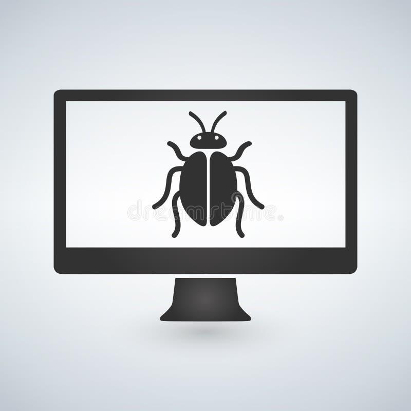 Komputer infekuje malware, pluskwa na parawanowej ilustraci royalty ilustracja