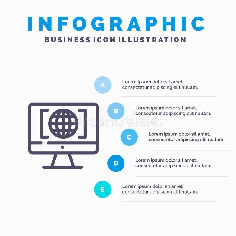 Komputer, internet, świat, Duża myśli linii ikona z 5 kroków prezentacji infographics tłem ilustracji