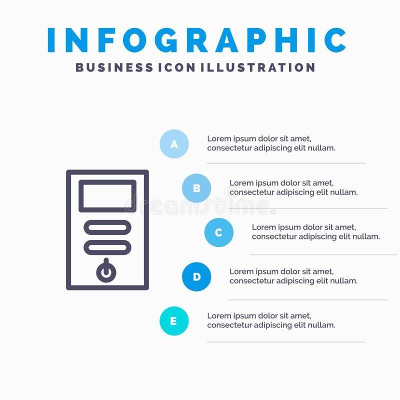 Komputer, jednostka centralna, komputer osobisty, stabilizator Kreskowa ikona z 5 kroków prezentacji infographics tłem royalty ilustracja
