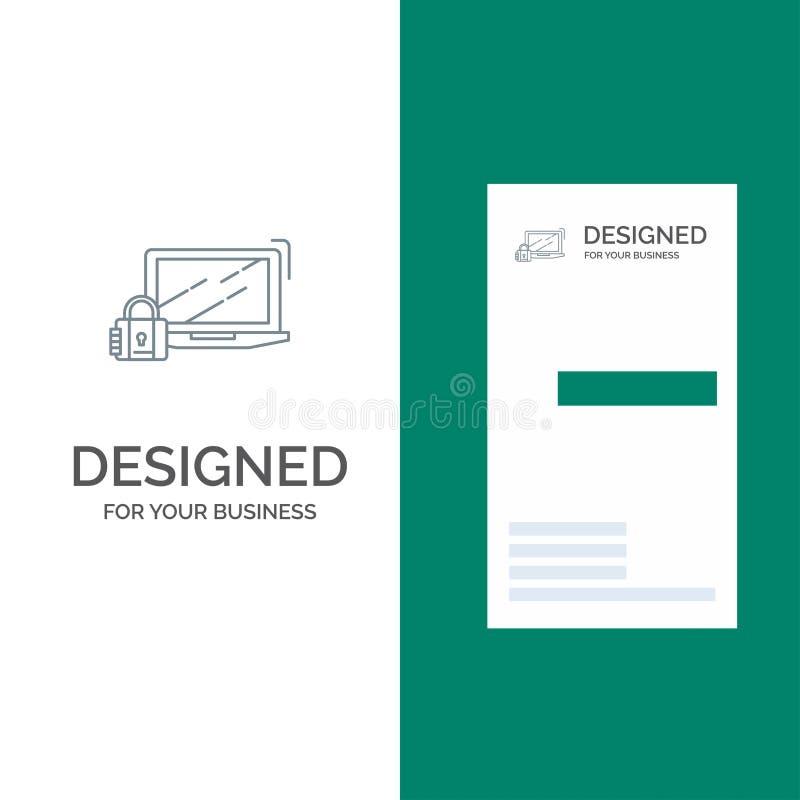 Komputer, kłódka, ochrona, kędziorek, nazwa użytkownika logo Popielaty projekt i wizytówka szablon, ilustracji