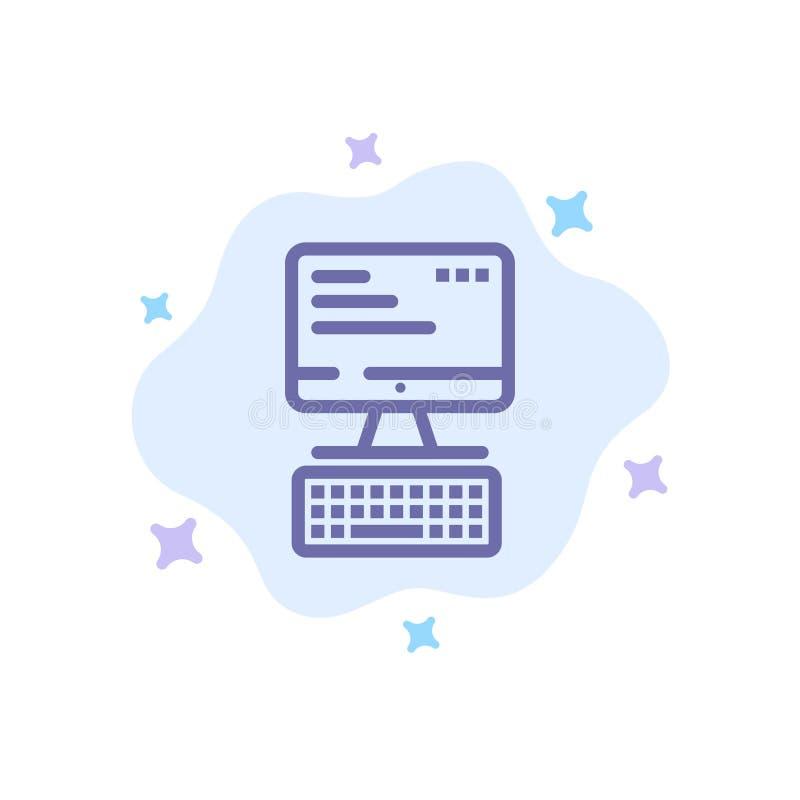 Komputer, klawiatura, monitor, Oblicza Błękitną ikonę na abstrakt chmury tle ilustracja wektor
