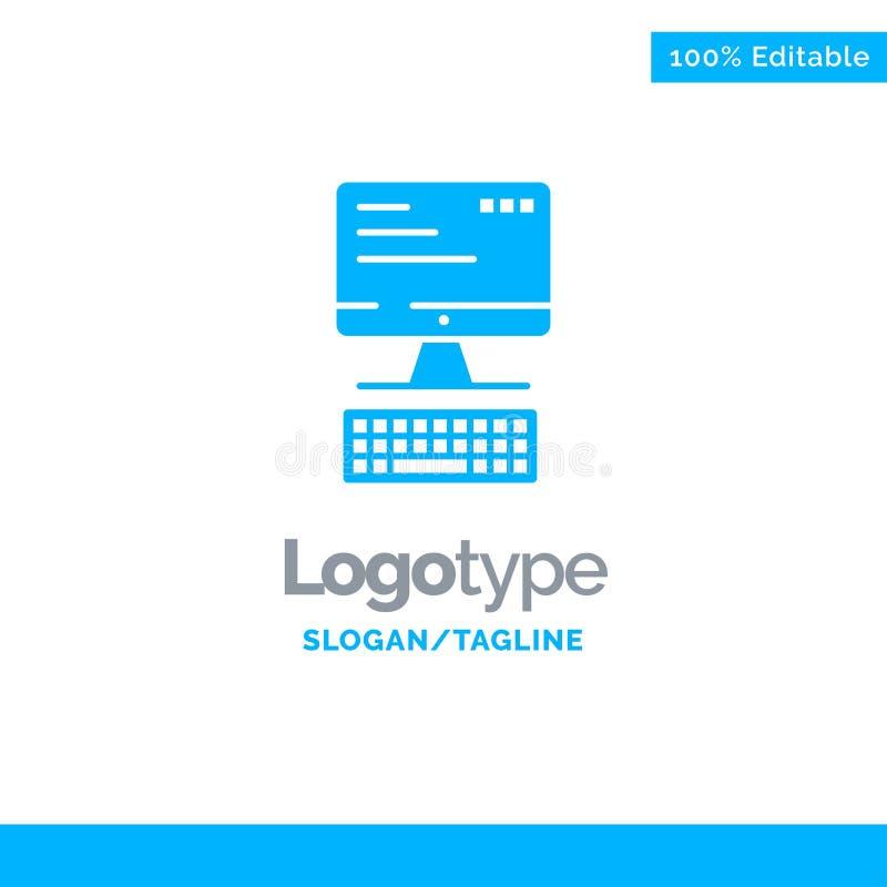Komputer, klawiatura, monitor, Oblicza Błękitnego Biznesowego logo szablon royalty ilustracja