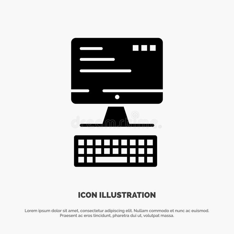 Komputer, klawiatura, monitor, Oblicza Stałą Czarną glif ikonę ilustracji