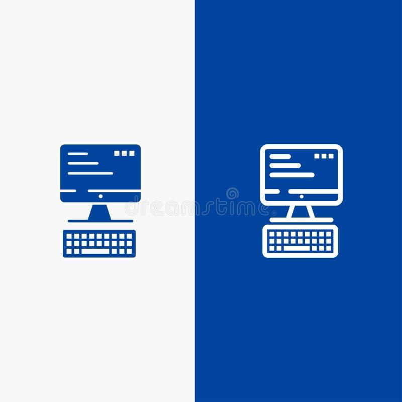 Komputer, klawiatura, monitor, Obliczający linii i glifu ikonę Stały błękita sztandar ilustracja wektor
