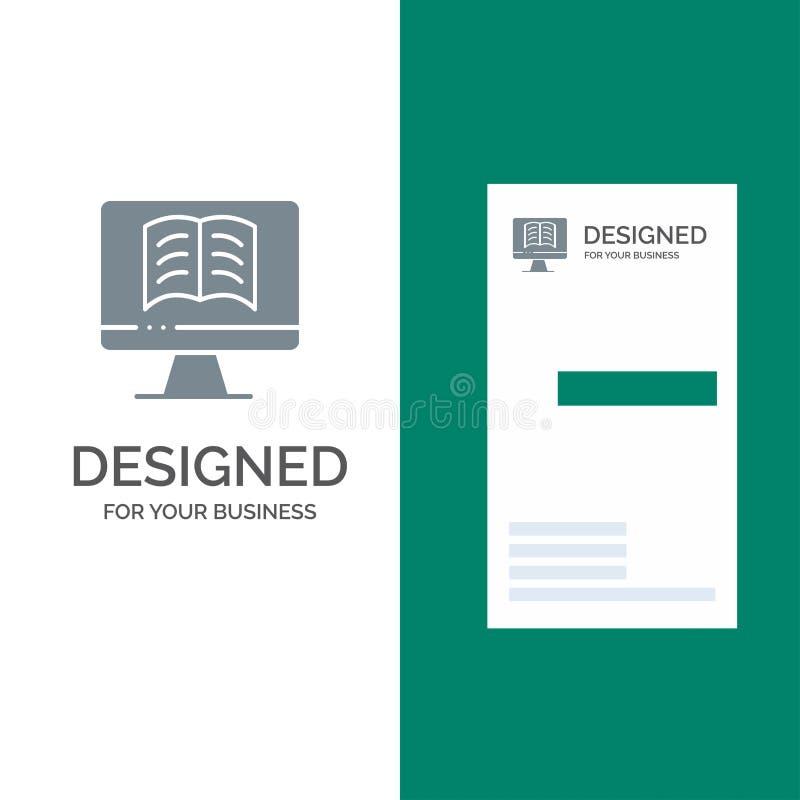 Komputer, książka, OnTechnology logo Popielaty projekt i wizytówka szablon, ilustracji