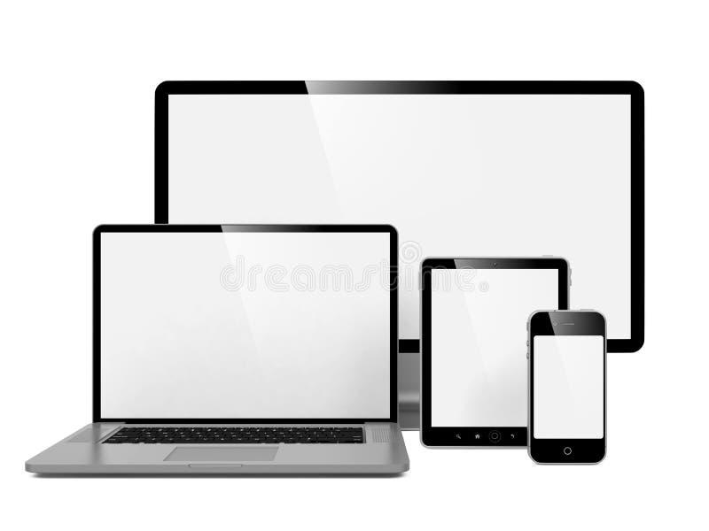 Komputer Laptop i Telefon. royalty ilustracja