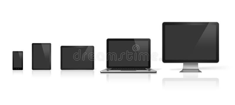 Komputer, laptop, telefon komórkowy i cyfrowy pastylka komputer osobisty, ilustracji