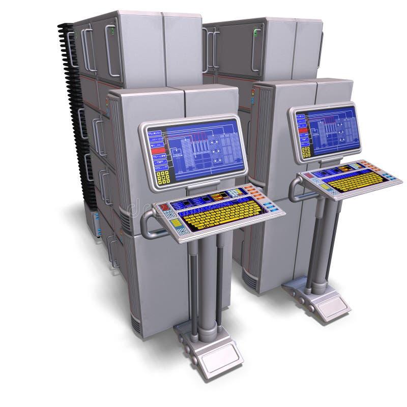 komputer mainframe komputerowa beletrystyczna historyczna nauka ilustracja wektor