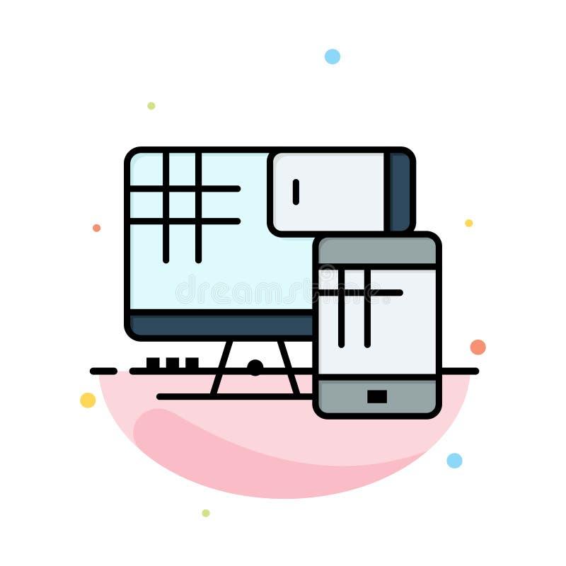 Komputer, monitor, komórka, edukacja koloru ikony Abstrakcjonistyczny Płaski szablon ilustracji