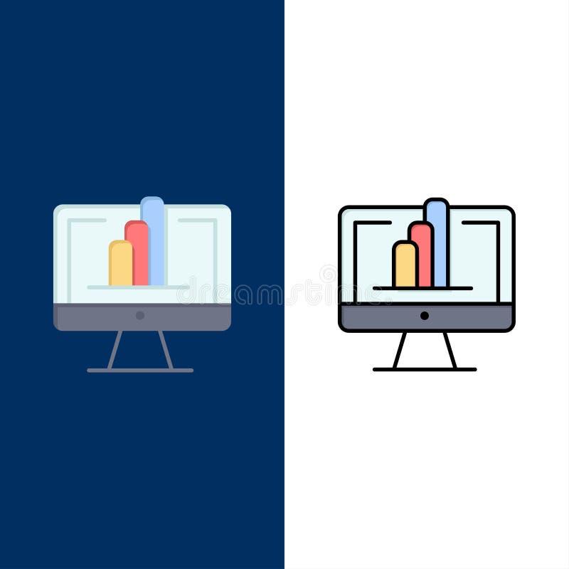 Komputer, monitor, koszula, wykres ikony Mieszkanie i linia Wypełniający ikony Ustalony Wektorowy Błękitny tło ilustracji