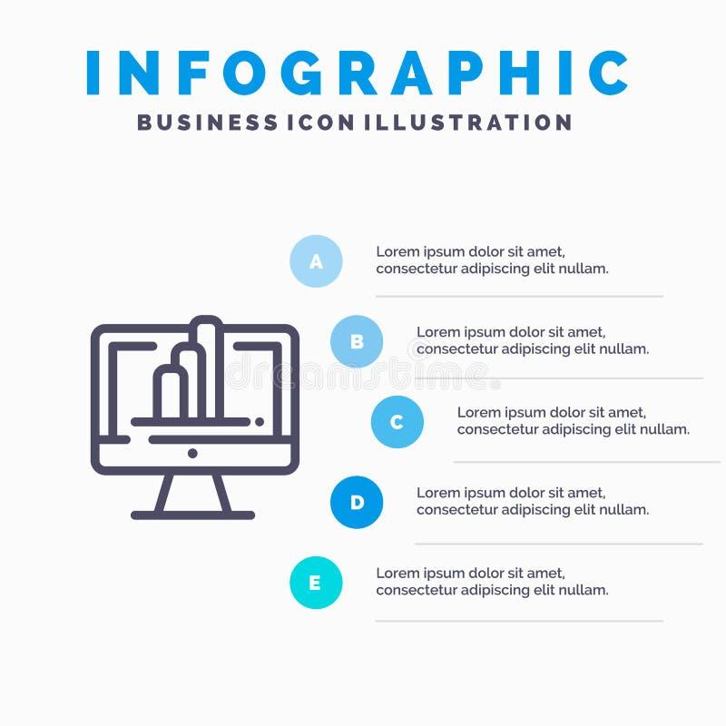 Komputer, monitor, koszula, wykres Kreskowa ikona z 5 kroków prezentacji infographics tłem royalty ilustracja