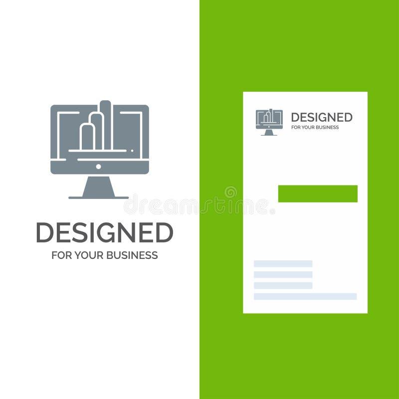 Komputer, monitor, koszula, wykresu logo Popielaty projekt i wizytówka szablon, royalty ilustracja